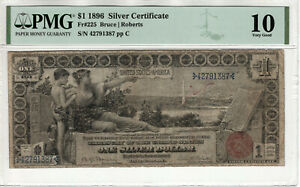 1896 $1 SILVER CERTIFICATE EDUCATIONAL NOTE FR.225 BRUCE ROBERTS PMG VG 10