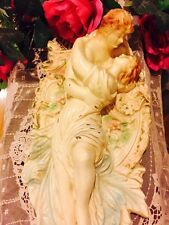 Vintage Pair Lovers Man And Woman French Vanity Painted Figurines Wall Table top