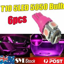 Pink/Purple 6 x T10 194 5050 5-SMD LED Bulb Car Interior Wedge Dome Trunk Lights