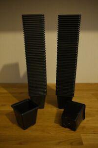 """7cm ( 2 3/4"""" ) Square Lightweight Black Plastic Plant Pots ( 100 No )"""