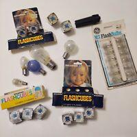 Lot Of 27 Mixed Vintage Photo flash bulbs & Flash Cubes GE M3 Sylvania Blue Dot