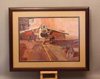 ORIGINAL JOHN AUSTIN HANNA PAINTING OF VOUGHT F-8 CRUSADER ON CARRIER, CA. 1962