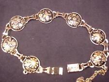 "Damascene Bracelet Nice Round Links each panel unique Birds Flowers Butterfly 7"""
