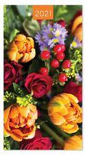 2021 Slim Pocket 2 Week To View Soft back Floral Diary - Flowers Orange