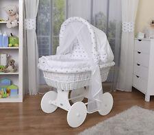 WALDIN Baby Bollerwagen,Stubenwagen,komplett mit Zubehör,Stoffe Weiß/Sterne-grau