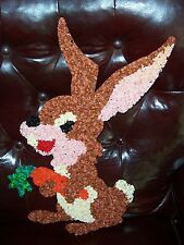 VINTAGE MELTED PLASTIC POPCORN WALL DECOR, LONG EARED RABBIT