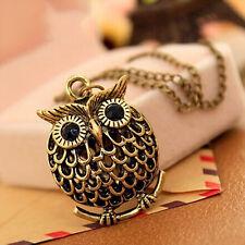 Lady Owl Crystal Bronze Retro Necklace Chain Women Pendant Jewelry Charm Fashion