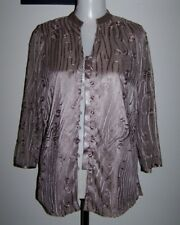 NWT FELLA HAMILTON 8 TAUPE/DARK NUDE RIBBON EMBROIDERED 3/4 SLEEVE ASIAN TOP