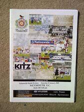 Carshalton Athletic v Weymouth - Nationwide South 2004/05  MINT Programme