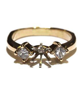14k yellow gold .46ct VS1 H semi-mount diamond engagement ring 5.1g size 9