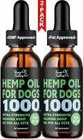 (2-Pack) Hemp Oil for Dogs & Cats 1000mg Calming Drops Supplement for Anxiety