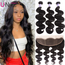 Brazilian Body Wave Human Hair Wefts 3 Bundles With 13x4 Lace Frontal Closure 8A