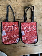 Lululemon 2 Tote Bags Small Reusable Shopping Bags Manifesto Red