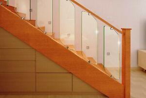 Nidda Toughened Glass Panels Stair Rake & Clamps, For Stair or Landing