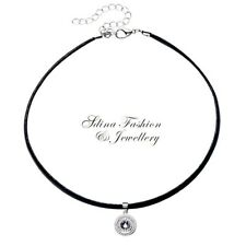 925 Sterling Silver Pendant Made With Swarovski Element Halo Choker Necklace
