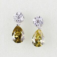 Appealing wedding peridot 18k white gold filled eye-catching dangle earring