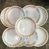 """4+4+1 9 Corelle BUTTERFLY GOLD Lunch PLATES Luncheon WHITE Yellow Flowers 8 1/2"""""""