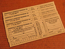 Vtg L&N LOUISVILLE AND NASHVILLE RAILROAD 31 Day  20 trip Five New Tickets
