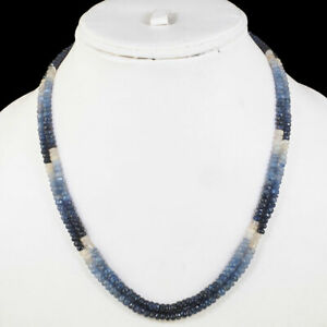 2 Strands Natural Blue Sapphire Necklace Shaded Faceted Beaded 925 Silver Clasp