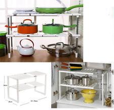 Wht Adjustable 2 Tier Under Sink Shelf Kitchen Storage Organize Rack Holder