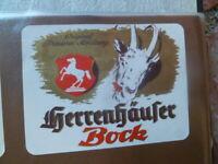 GERMAN BEER LABEL HERRENHAUFER  BREWERY  BOCK WHITE GOAT UNUSED