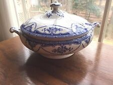 Flow Blue Antique Signed Diadem Tureen