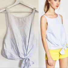 Zara Pinstripe Knit Front Blouse Size XS