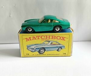 MATCHBOX 75 FERRARI BERLINETTA CHROMED HUB & RARE BOX SHOWING BLUE MODEL