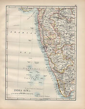 1901 VICTORIAN MAP ~ INDIA SOUTH WEST ~ BOMBAY MYSORE