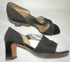 """RUSSELL & BROMLEY (UK4 / EU37) BLACK FABRIC OPEN TOE SHOES WITH 2.5"""" HEELS"""