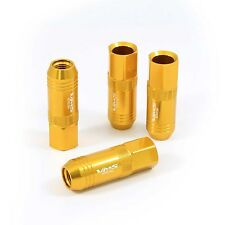 VMS 20 GOLD 60MM ALUMINUM EXTENDED TUNER LUG NUTS LUGS FOR WHEELS RIMS 12X1.5
