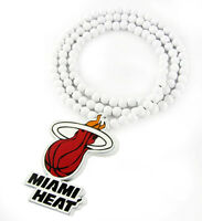 "WOODEN MIAMI HEAT PENDANT PIECE & 36"" CHAIN BEAD NECKLACE GOOD WOOD LEBRON NBA"