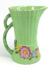Antique Maling Flowers Bamboo Style Green Vase Pitcher Floral England J954