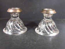 "Saben STERLING RIM AND GLASS CANDLE HOLDERS 4"" X 4"""