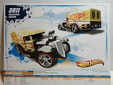 2011 Collectors Edition Hot Wheels 8 1/2 x 11 Poster Gold Blown Delivery