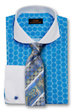 Dress Shirt by Steven Land Spread Collar Rounded French Cuff- Blue -DW1739-BL