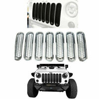 7pcs Front Mesh Grill Cover Insert Kit For 07-16 Jeep Wrangler Rubicon Sahara Jk