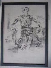 Figure Dessin Nue Expressive Anthracite/papier, Féminin Femme Assise A1 T @