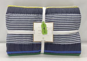 NEW Pottery Barn TEEN Riverside Stripe FULL/QUEEN Quilt~Blue Multi