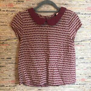 H&M Bunny Rabbit Print Peter Pan Collar Top Blouse Red Size 10