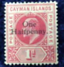 Cayman Islands Edward VII 1/2d on 1d Red SG 17 Catalogue Value £60 in 2016.