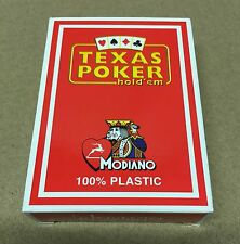 Modiano Jumbo Red Texas Poker Hold Em' 100% Plastic Italian Playing Cards