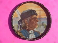 Vintage North American Native Indian Round Tin Serving Tray