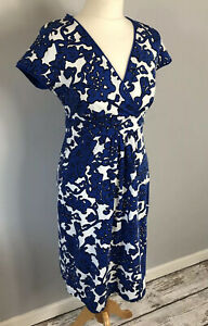 BODEN Size 10 R Blue White Floral Dress Xmas Night Out Party Autumn Winter