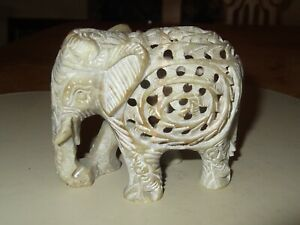 Hand Carved Soapstone Elephant Ornament Statue with Baby Carved Inside