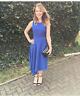 Ted Baker Blue Fit & Flare Arola Textured Drape Asymmetric Party Dress UK 8 - 10