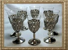 Collection of 8 Silver Stem Serving Shot Goblets Drinkware with Glass Insert
