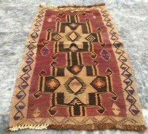 Vintage Handmade Turkish Kilim Rug Anatolian Oriental Wool Kilim Area Rug