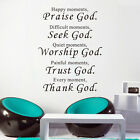 Vinyl Words Quote Poem Thank God Wall Sticker Art decal Room decor removable C