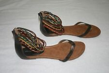 Women's ALDO Colorful Beaded Ankle Strap Flat Sandals Shoes Zip Back Sz 40 US 9